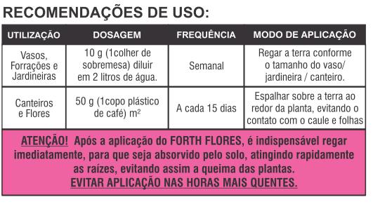 recomendacao uso fertilizante flores forth