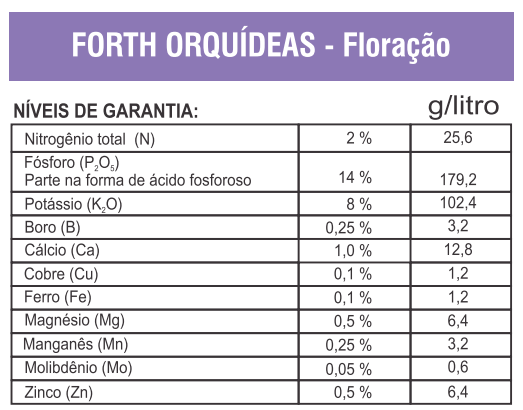 fertilizante liquido orquidea forth composicao floracao
