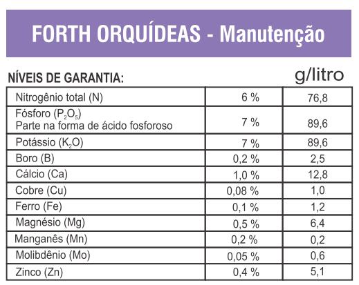 fertilizante liquido orquidea forth composicao manutencao