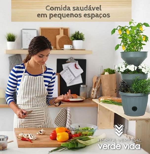 mini horta vertical verde vida auto irrigacao cozinha
