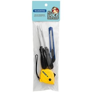 kit de ferramentas 4 pecas tramontina estilete estreito chave de fenda ponta chata trena