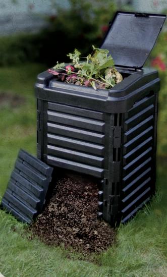 composteira plastica tramontina 250litros montada aberta cheia resto plantas