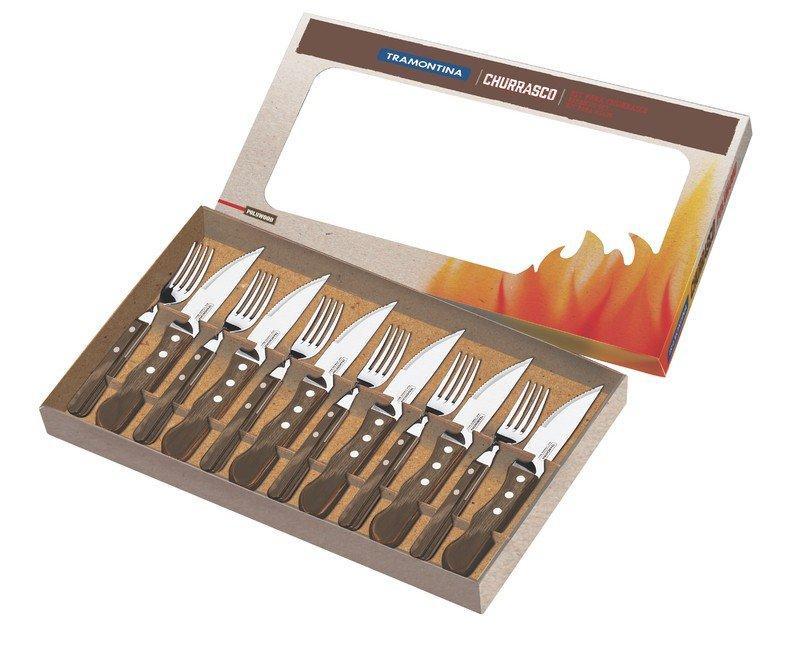 jogo talheres para churrasco 12 pecas polywood tramontina jumbo 5 polegadas