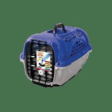 caixa transporte panther plastpet cachorro azul
