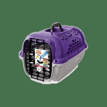 caixa transporte panther plastpet cachorro lilas