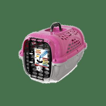 caixa transporte panther plastpet cachorro rosa