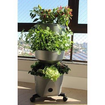 horta vertical verde vida prata com rodizio