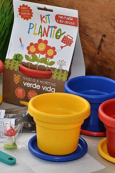 kit plantio horta verde vida vasos coloridos