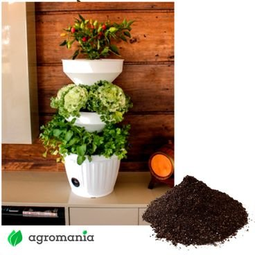 mini horta branca verde vida autoirrigavel com substrato