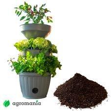 mini horta cinza verde vida autoirrigavel com substrato
