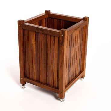 cachepo madeira grande com rodas de silicone