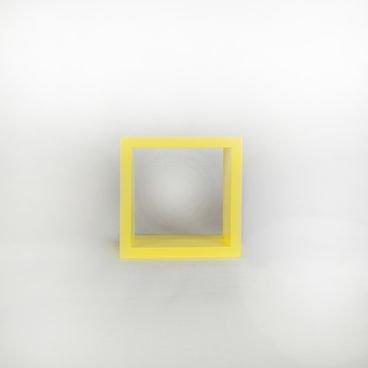 nicho decorativo quadrado amarelo 20cm em madeira macica para quarto sala escritorio