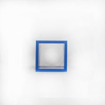 nicho decorativo quadrado azul 15cm em madeira macica para quarto sala escritorio