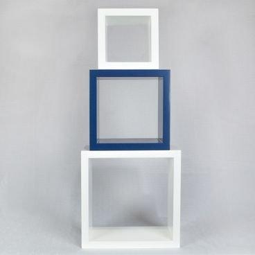 kit nicho decorativo quadrado azul e branco em madeira macica para quarto sala escritorio