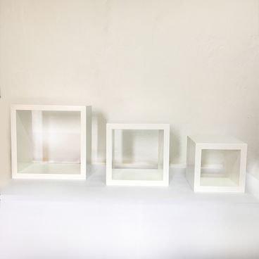 kit nicho decorativo quadrado branco em madeira macica para quarto sala escritorio