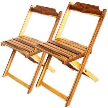 par de cadeiras madeira dobraveis rohden teca