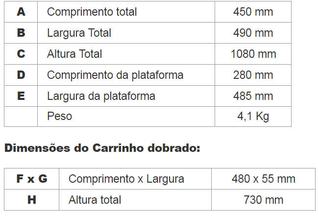 carrinho 100kg riosultools aluminio tabela