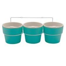 kit com tres vasos auto irrigavel azul ou