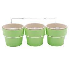 kit com tres vasos auto irrigavel verde menta ou