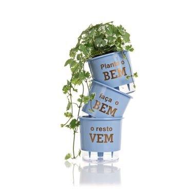 vaso autoirrigavel wishes plante o bem azul planta