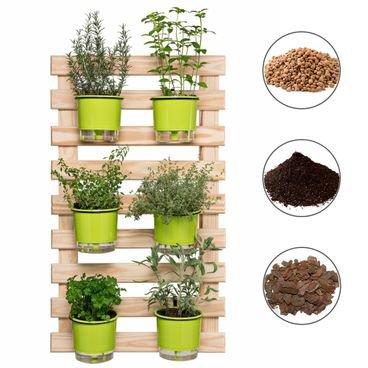 202610 conjunto horta vertical 60x100 6 vasos verde claro 6 suportes preto substrato casca argila raiz