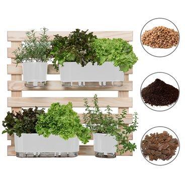 202603 conjunto horta vertical 80x80 2 vasos brancos 2 jardineiras brancas 4 suportes substrato casca argila raiz