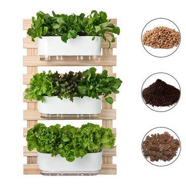 202613 conjunto horta vertical 3 jardineiras 3 suportes substrato argila casca raiz branco