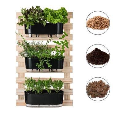 202613 conjunto horta vertical 3 jardineiras 3 suportes substrato argila casca raiz preto