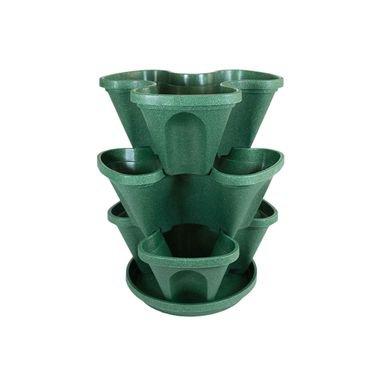 plastgarden vasos empilhaveis verde escuro