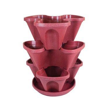 plastgarden vasos empilhaveis vermelho