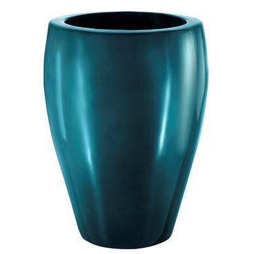 vaso polietileno pintado redondo azul turquesa