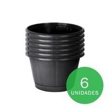 kit vaso cuia nobre 03 com prato preto nutriplan 6un