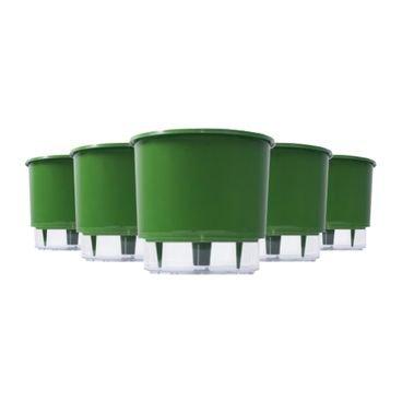 kit 5 vasos auto irrigaveis raiz verde escuro