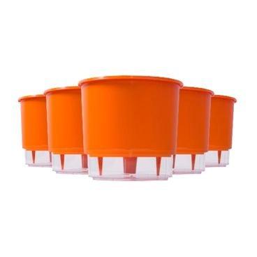 kit 5 vasos auto irrigaveis raiz laranja