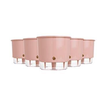 kit 5 vasos auto irrigaveis raiz rosa quartz