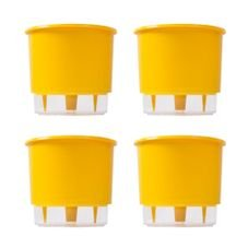 kit 4 vasos auto irrigaveis raiz amarelo