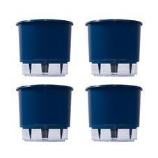 kit 4 vasos auto irrigaveis raiz azul