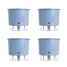 kit 4 vasos auto irrigaveis raiz azul serenity