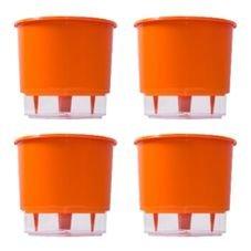 kit 4 vasos auto irrigaveis raiz laranja