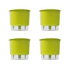 kit 4 vasos auto irrigaveis raiz verde claro