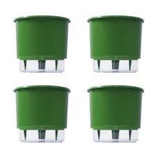 kit 4 vasos auto irrigaveis raiz verde escuro
