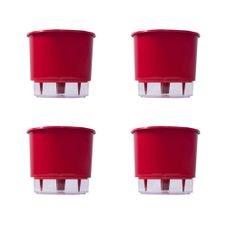 kit 4 vasos auto irrigaveis raiz vermelho