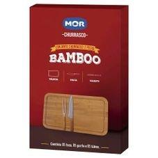 conjunto churrasco bamboo mor faca garfo caixa