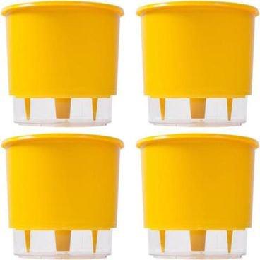 kit 4 vasos raiz autoirrigavel medio amarelo