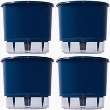 kit 4 vasos raiz autoirrigavel medio azul escuro