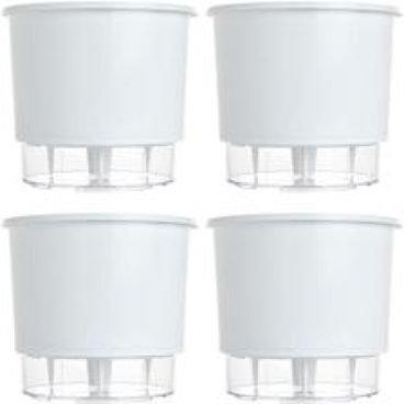 kit 4 vasos raiz autoirrigavel medio branco