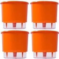 kit 4 vasos raiz autoirrigavel medio laranja