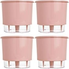 kit 4 vasos raiz autoirrigavel medio rosa quartz