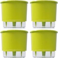 kit 4 vasos raiz autoirrigavel medio verde claro