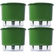 kit 4 vasos raiz autoirrigavel medio verde escuro
